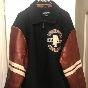 Pelle Pelle Blue Wool and Brown Leather Jacket